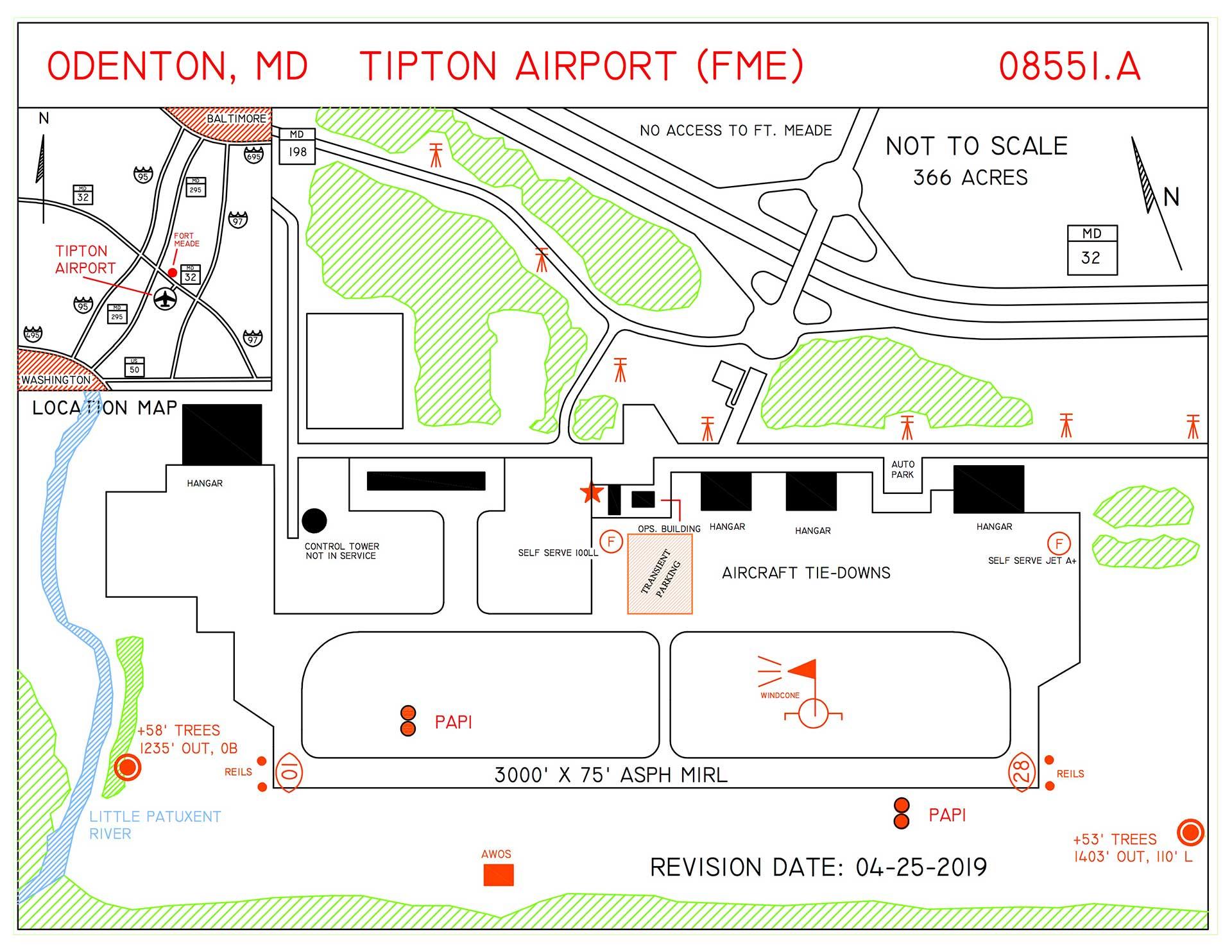 line art diagram of tipton airport